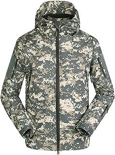 AUmansmoer Men's Camo Hooded Fleece Lined Water Resistant Softshell Jacket Camping Hiking Golf Outdoor Sports Windbreaker