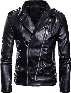 AOWOFS Men's Faux Leather Jacket Motorcycle Lapel Bomber Punk Irregular Zipper Jacket Black