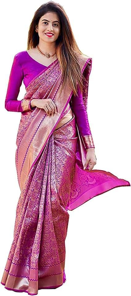 Indian CRINGO TEX Women's vastrram almari kanchi pattu kanchipuram silk Saree with Blouse (Purple Colour) Saree