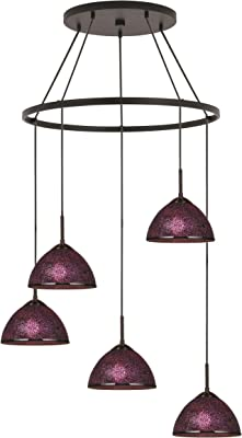 Woodbridge Lighting 16428MEB-M60PUR Chandelier, Mosaic Purple