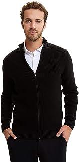 DeFacto Heren hoge hals met ritssluiting slim fit cardigan | 100% polyacryl | heren cardigans trui, gebreide jas voor mannen