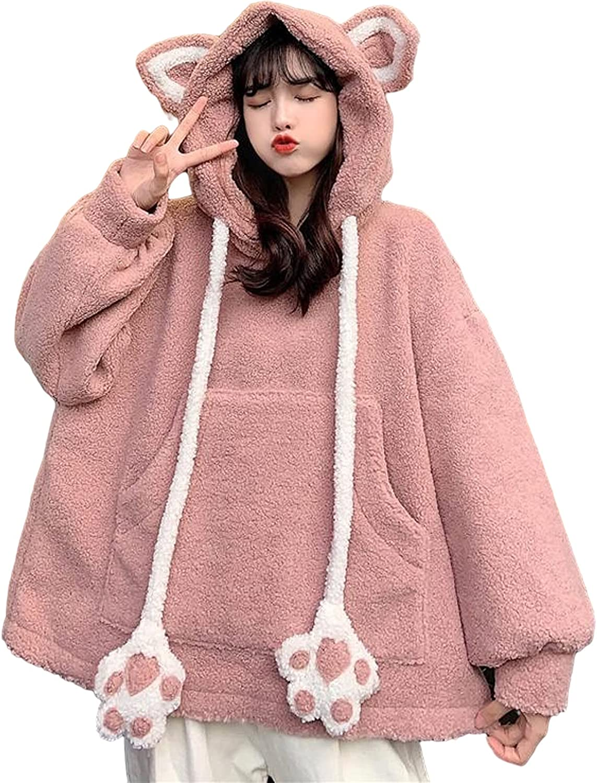 Women Cute Ears Claw Long Sleeve Fuzzy Fluffy Cat Tops Pullover Sweatshirt Hoodie