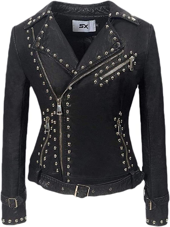 Women's Basic Style Zipper Leather Rivet Turn-Down Collar Coat Jacket,3,Medium Black