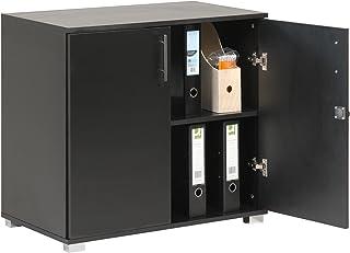 MMT Furniture Designs Armoire de rangement de bureau avec 2 portes et serrure 73 cm de hauteur Noir