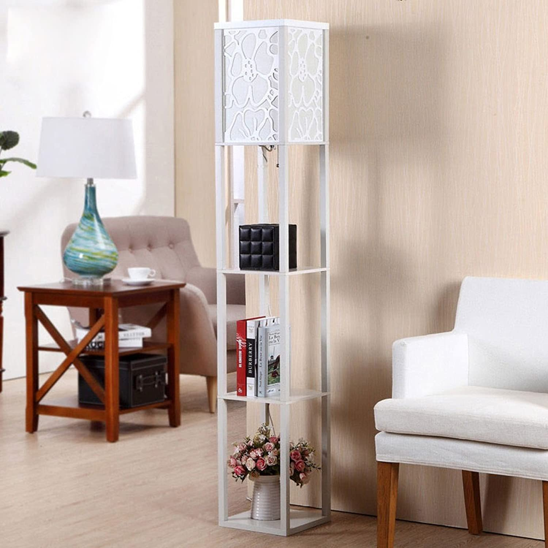LILY 木製中空彫刻されたフロアランプ、アメリカの豪華な3階建ての棚の垂直ランプ、新しい中国の居間の寝室の研究垂直ランプ (Color : White)
