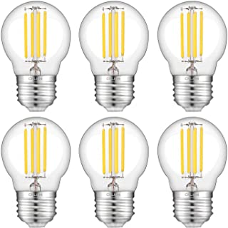 CRLight 4W Dimmable LED Globe Bulb 4000K Daylight White 450LM, 45W Incandescent Equivalent, Replace 8W Compact Fluorescent CFL Bulbs, E26 Base Tiny G14(G45) Clear Glass Globe Light Bulbs, Pack of 6