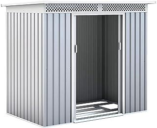 Gardiun KIS12134 - Caseta Metálica Kingston 3 m² Exterior 142x213x184 cm Acero Galvanizado Silver/Blanco