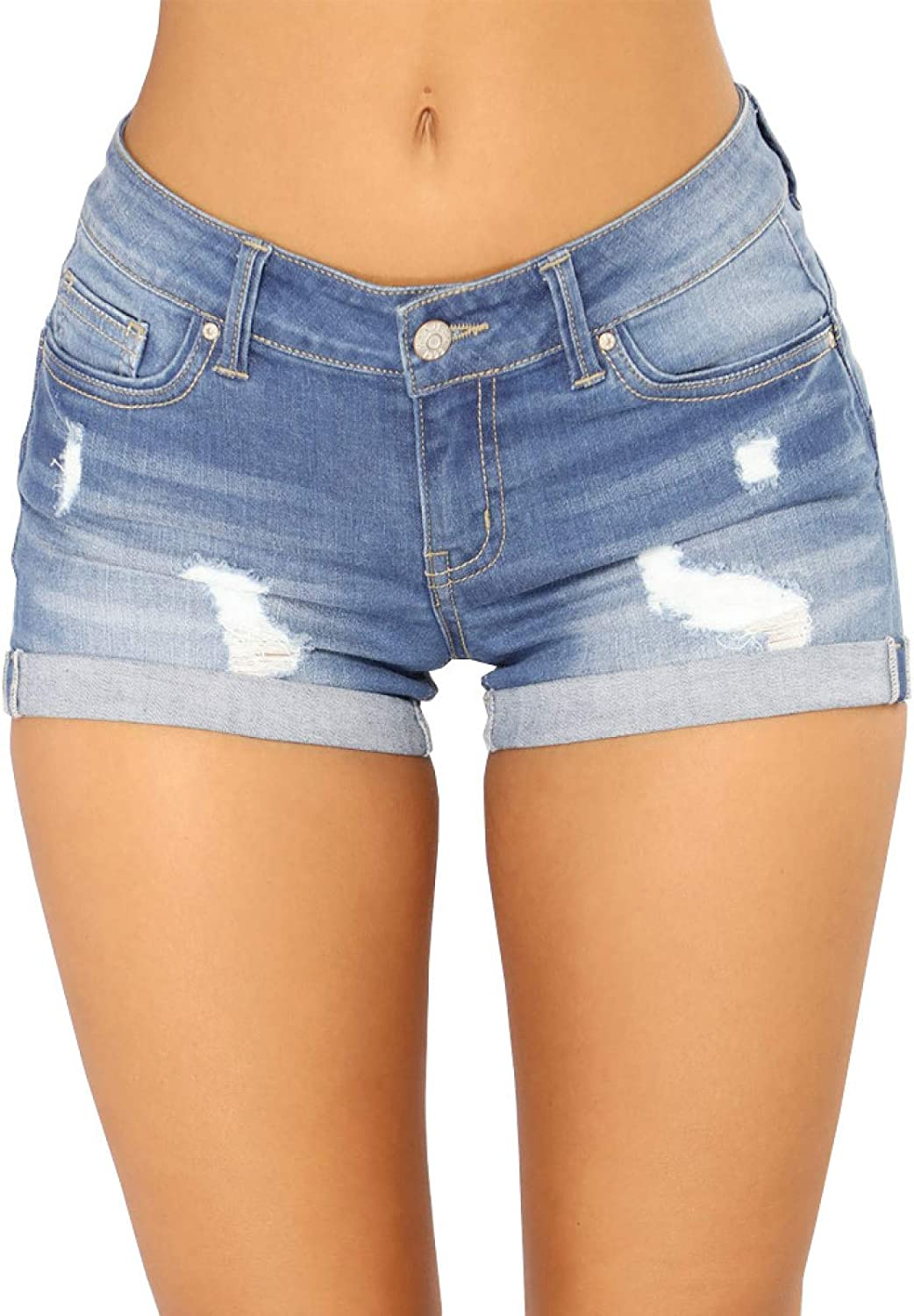 Women's Ripped Denim Shorts Fashion Low Waist Sexy Trendy All-Match Washed