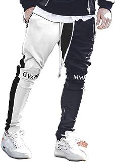 guapi ジョガーパンツ メンズ ジャージトラックパンツ バイカラー 白黒