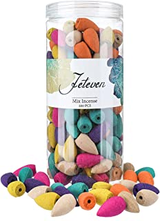 Jeteven 200 Pcs Backflow Incense Cones Waterfall Incense, 8 Mixed Natural Incenses Cones Sandalwood/Green Tea/Jasmine/Lave...