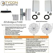 EZ-Bridge-LT5+ HD 100MB, 5GHz 802.11an Pt/Pt Secure Bridge Pair, Shield Outdr 75' CAT5 Cables + Surge Prot 24V PoE Ins, Plug n Play, 25dBm Out + 14dB Ant, 3mi Range, Wall/Pole(1-2