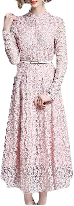 Hadudu Women's Stand Up Collar Long Sleeved Floral Lace Patchwork Accept Waist Temperament Belted Dress