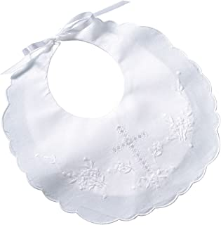 Lillian Rose Cotton Christening Baby Bib, White, 8.5 x 9