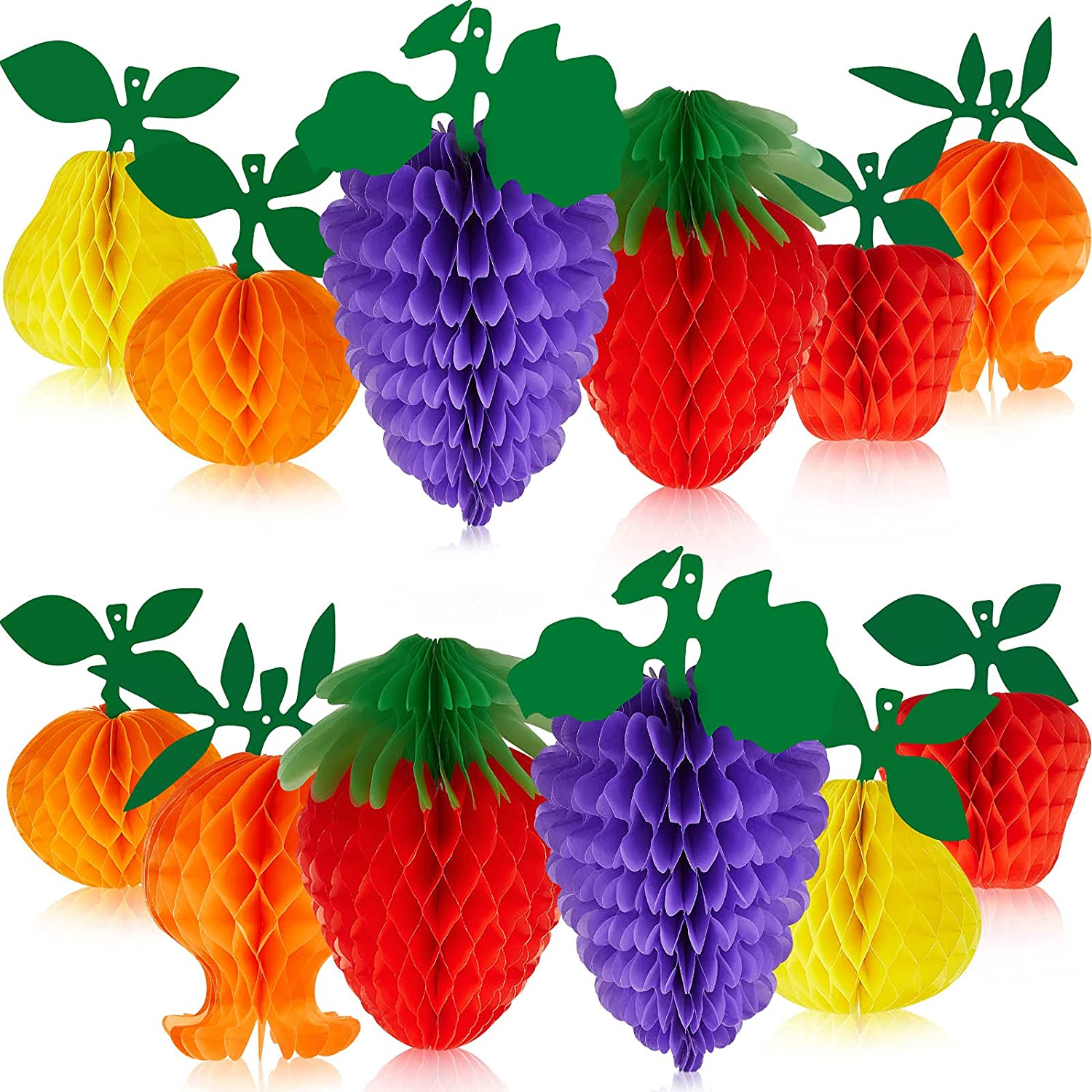 Outus 12 Pieces Fruit Honeycomb Decorations Hanging Tissue Paper Ball Pineapple Strawberry Hawaiian Table Centerpieces for Hawaiian Tropical Luau Jungle Party Decorations Supplies Favors