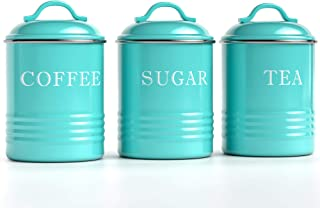 """Barnyard Designs Decorative Kitchen Canisters with Lids Turquoise Metal Rustic Vintage Farmhouse Country Decor for Sugar Coffee Tea Storage (Set of 3) (4"""" x 6.75"""")"""