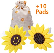 JOJOY LUX 2pcs Sunflower Air Fresheners with Vent Clip, Aromatherapy Essential Oil Diffuser, 10 Felt Pads, for Car Fan Computer and Others to Clip on