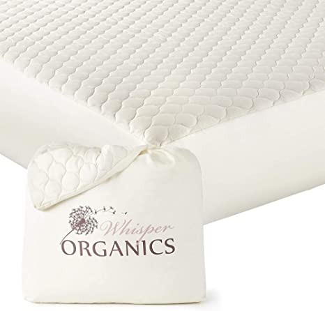 Amazon Com Whisper Organics 100 Organic Cotton Quilted Mattress Cover 17 Deep Gots Certified Twin Kitchen Dining All cotton mattress pad no polyester