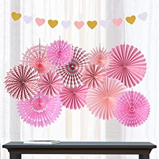 Pink Hanging Paper Fans Round Folding Heart Banner Rosettes Party Supplies Photo Props for Valentines Day Wedding Birthday Baby Shower Wall Decor Party Decorations (Pink)