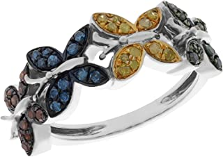 Clearance 0.32Ct Multi Color Diamond Butterfly Engagement Ring, White Gold Plated Silver, Size 8.5