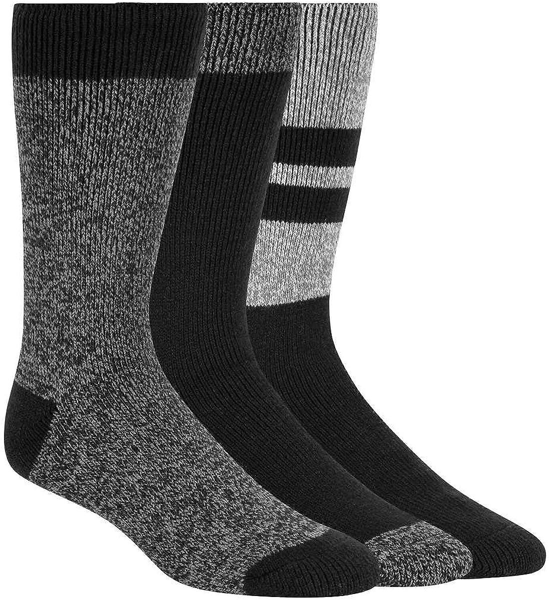 Weatherproof Men's Ultimate Thermal Crew Socks, Black, 3 Pairs
