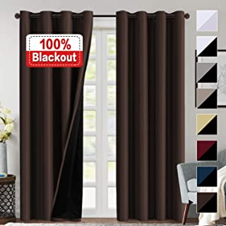 100% Blackout Curtains for Living Room Faux Silk Double Layer Curtains Room Darkening Thermal Insulated Energy Saving Grommet Window Treatment Panel - 2 Panels (Brown, 52 by 84-inch)