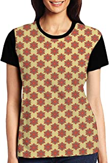 Women's T Shirts,Floral Like Artful Surreal Traditional Symmetrical Arabian Medieval Illustration