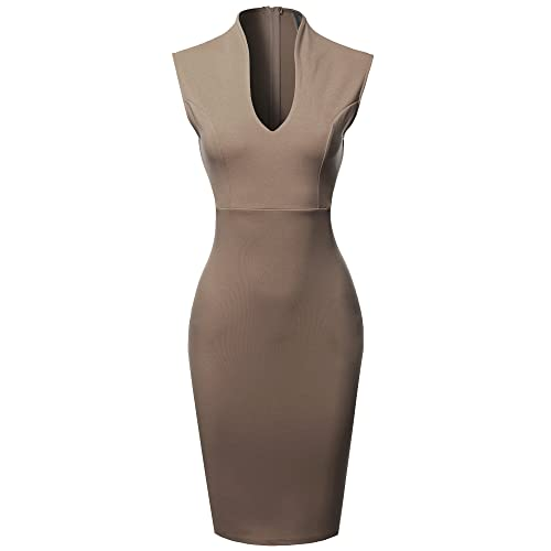 f2fb2baed60b Made by Emma Women s Fitted Elegant Sleeveless Formal Cocktail Party Pencil Midi  Dress