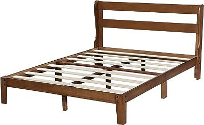 SLEEPLACE Wood Platform Headboard, King Size Bed Frame Natural