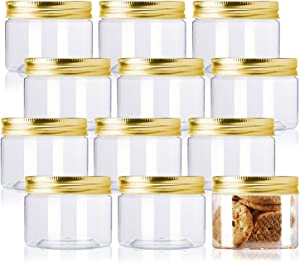 Plastic Jars with Lids,12 Pack Refillable Plastic Slime Storage Containers Clear Plastic Food Storage Jars,Plastic containers with Gold lids for Beauty Products,Kitchen & Storage - BPA Free (4 Ounce)