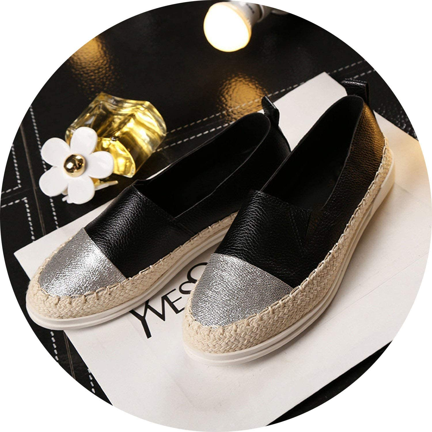 Crazy-shop Fashion Flat Black shoes for Women Casual Slip on Loafers Ballerina Flats Woman Espadrille
