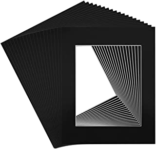 Golden State Art, Pack of 20 11x14 BLACK Picture Mats with White Core Bevel Cut for 8x10 Pictures
