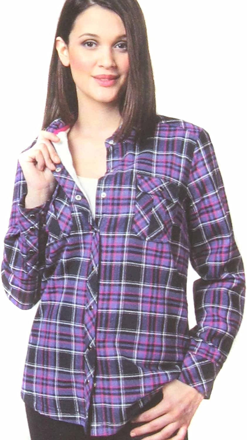 BC Clothing Women's Sherpa Lined Plaid Flannel Shirt Jacket