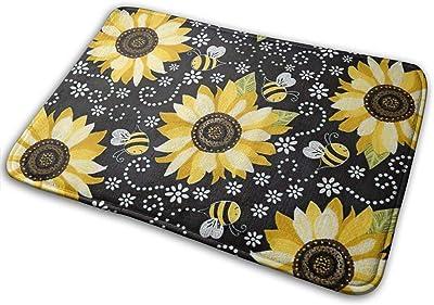 Sunflower and Bees Home Doormat for Indoor/Outdoor Bathroom/Kitchen/Bedroom/Entryway Floor Mats Non-Slip Door Mat Cartoon Insect Flower Pattern Bathroom Mat