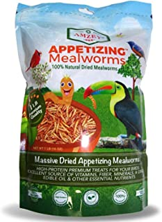 Amzey Dried Mealworms 1 LB, 100% Natural for Chicken Feed, Bird Food, Fish Food, Turtle Food, Duck Food, Reptile Food, Non...
