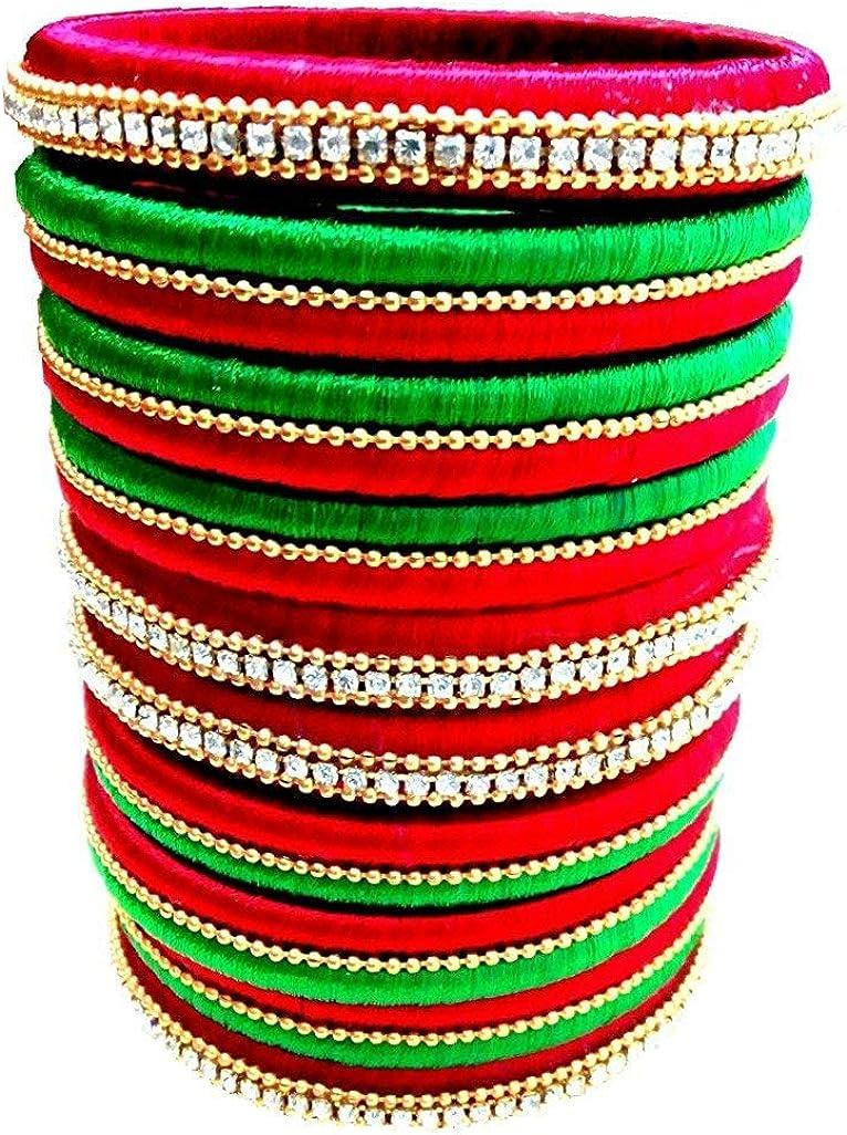 Silk Thread Bangles Set Red & Green Rhinestone Embellished Designer Bangles 10 Bangles Combo