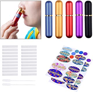 Kare & Kind Inhaler Tubes- Aluminum and Glass - for DIY Essential Oil Aromatherapy Use - Refillable - 5 Elegant Inhaler Tubes, 25 Wicks, 1 Opening Tool, 78 writable Stickers, 2 Mini droppers