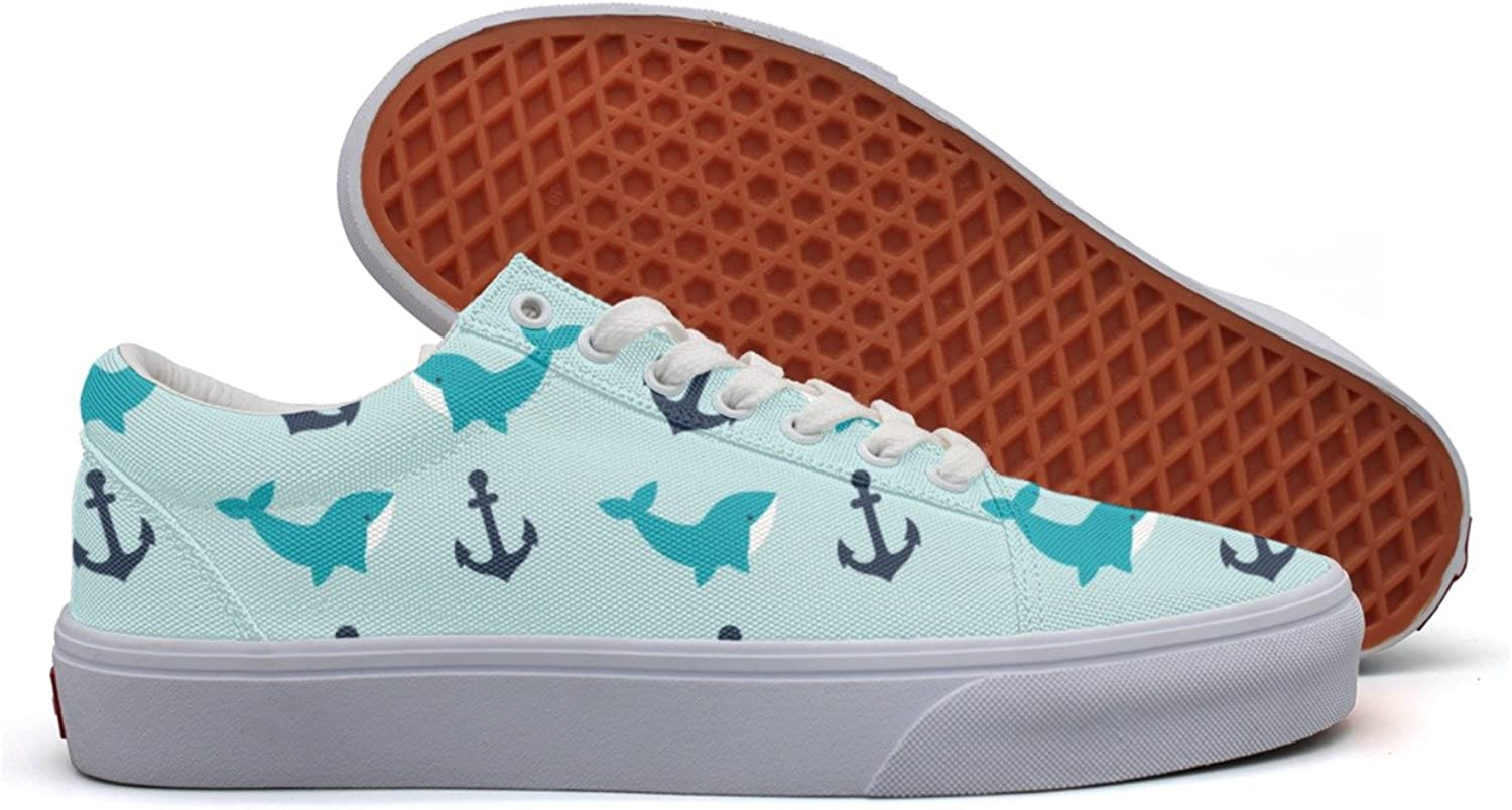 Womens Anchor Whale Pattern Utility Sneakers For Women