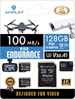 2-Pack High Endurance 128GB MicroSDXC Card for Video Monitoring - Dash Cam, Body Cam, Surveillance Cam, Home Security Cam,...