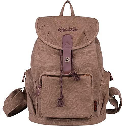 DGY Women s Canvas Backpack for College Schoolbag Casual Daypack for Girls  Travel Backpacks G00117 Dark Brown ac81babd59a22
