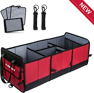 FLAGPOWER Car Boot Organizer, Extra Large Foldable Car Storage Box,Heavy Duty Waterproof Organiser with 3 Compartments and Strips for Car, SUV, Truck, Auto and More(Red & Black)