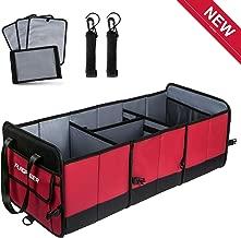 FLAGPOWER Car Trunk Organizer Collapsible Portable Multi Compartments Organizer with Non Slip Straps for SUV Truck Auto Vehicle Car Auto Minivan (Red)