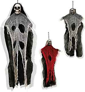 ATDAWN 3 Pack Hanging Skeleton Ghost, Halloween Party Decoration, One 35.5