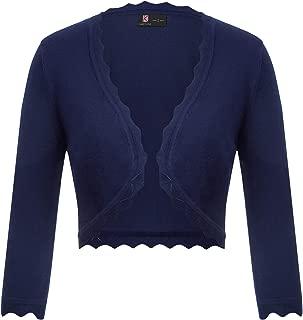 Kancy Kole Women's Open Front Knit Shrugs Cardigan Sweater 3/4 Sleeve Cropped Bolero