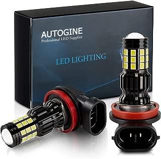 AUTOGINE 2800 Lumens Extremely Bright H11 H8 H16 LED Fog Light Bulbs for DRL or Fog Lights, DOT Approved, 6000K Xenon White (Pack of 2)