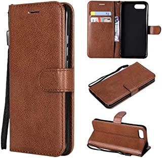 Protect Huawei Honor View 10 / Honor V10 Solid Color Premium Quality PU Leather Flip Wallet Stand Phone case with Wrist Strap for Fashion (Color : Brown)