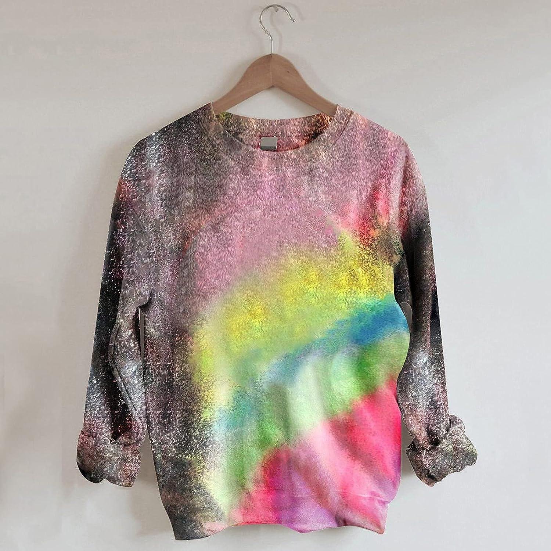 TARIENDY Crewneck Sweatshirts for Women Fashion Graphic Pullover Halloween Tie Dye Shirt Fall Long Sleeve Tops