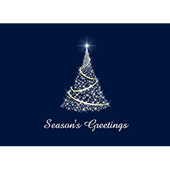 Holiday Greeting Cards - H1506. Greeting Cards with an Image of a Bright, Twinkling Christmas Tree. Box Set Has 25 Greeting Cards and 26 White with Gold Foil Lined Envelopes.