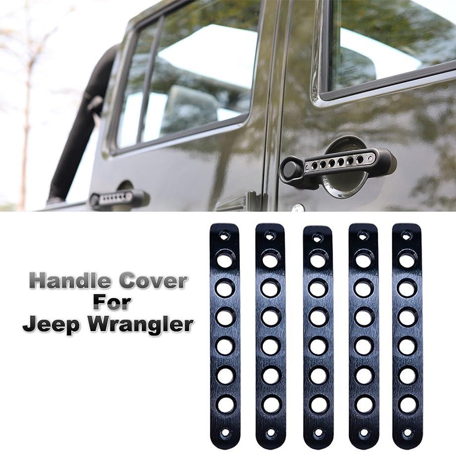 5pcs Door Aluminum Grab Handle Cover for Jeep 2007-2017 Jeep Wrangler JK 4 Door (Black)