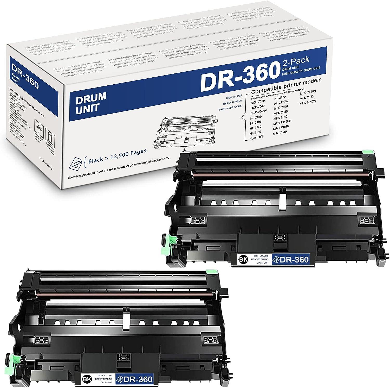 2PackBlackDR360DR-360CompatibleDrum UnitReplacementforBrotherDCP-7030 7045N HL-212 MFC-7040 Printer