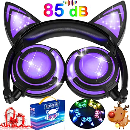 dfe1593e924 Kids Cat Ear Headphones for Girls Boys Toddlers with Microphone LED Light  85dB Volume Limit USB
